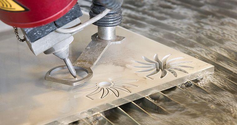 Waterjet cutting machine cutting figures